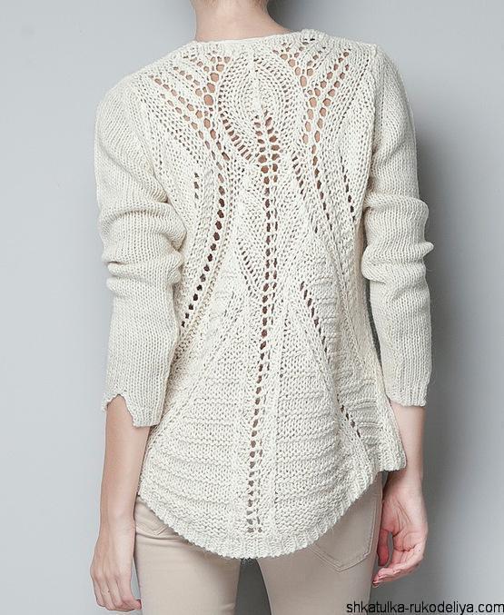 Вязаный пуловер с ажурной спинкой