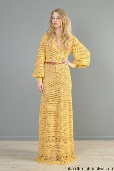 Винтажное длинное платье