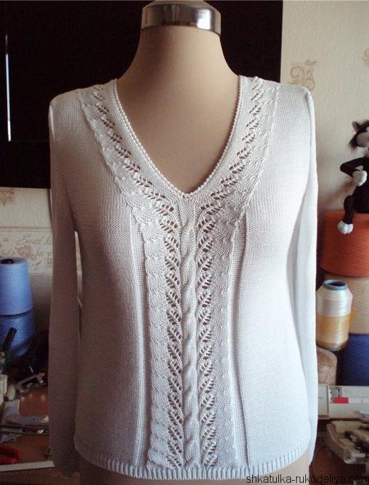 пуловер ,спицами, схема, женский