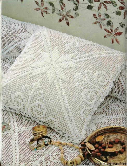 филейная подушка крючком схемы филейного вязания подушек шкатулка