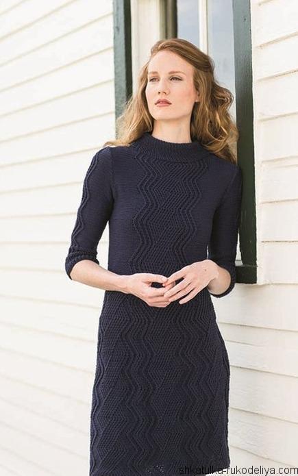 Платье спицами, облегающее, связать своими руками, стильное, узор зигзаг, офисное