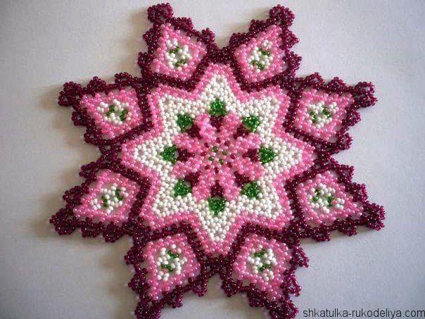 салфетка ,схема, бисера, плетение
