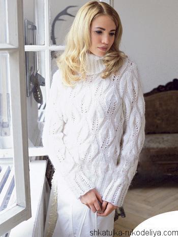 свитер ,схема, узор листья, женский