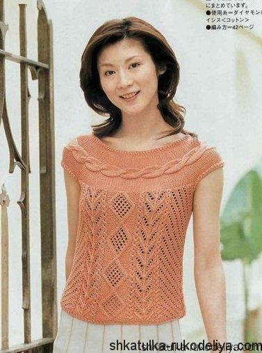 вязание спицами, кофточка, схема, японская модель, для женщин, кокетка из кос