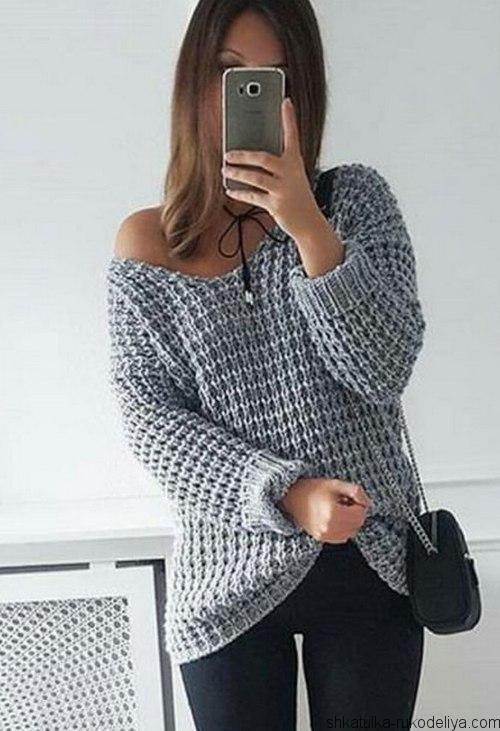 Пуловер спицами, крупным узором, оверсайз, вязание, спицами, v-образный вырез, модный, 2017, схема, снятыми петлями