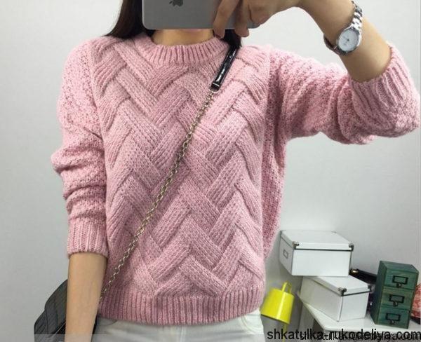 Пуловер узором «ложная коса»