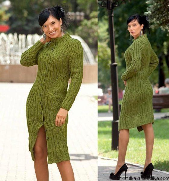 Зеленое пальто рельефным узором