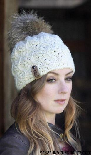 Модная шапочка с помпоном