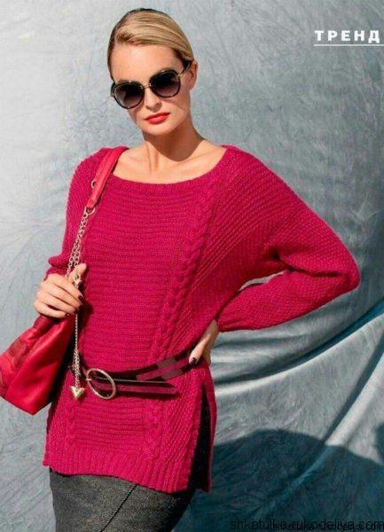 Красный пуловер спицами
