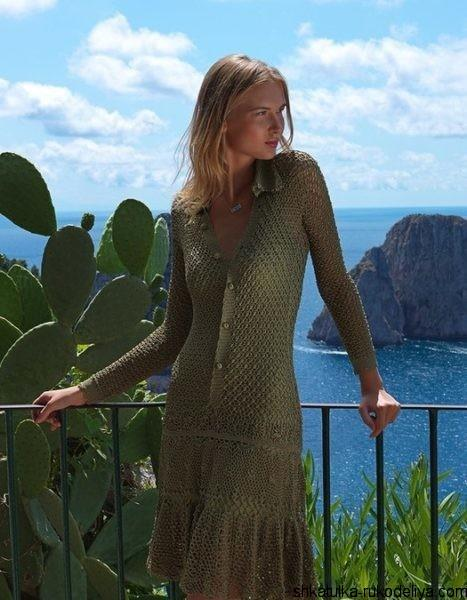 Вязаные платья на лето спицами со схемами 235