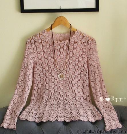 Нежный пуловер крючком