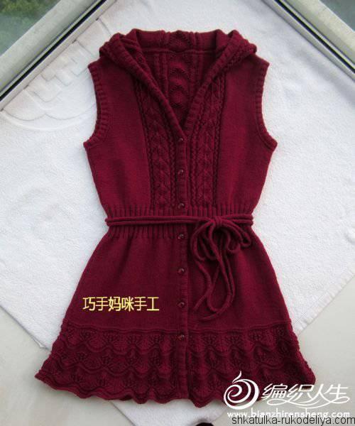 жилет с капюшоном спицами для девочки вязание спицами для девочек