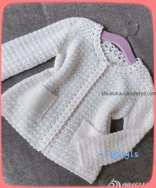 Белый жакет для девочки