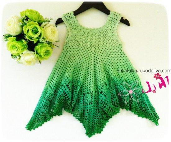 Меланжевое платье крючком