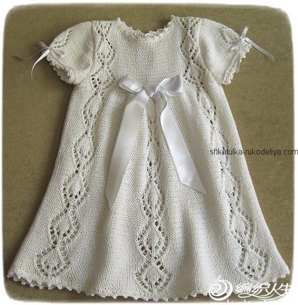 Милое детское платье спицами