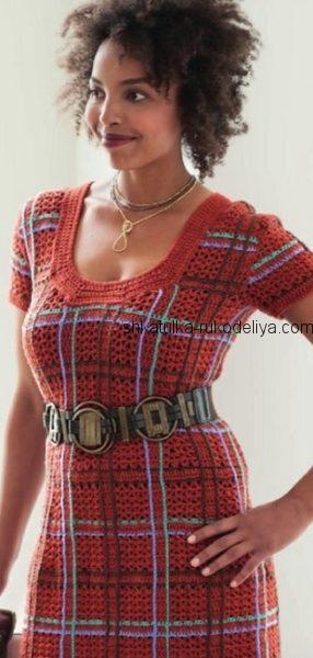 Платье в клеточку крючком