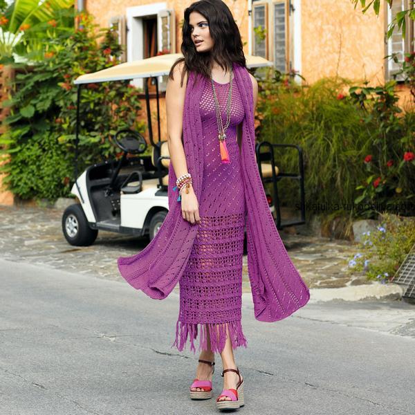Фиолетовое летнее платье