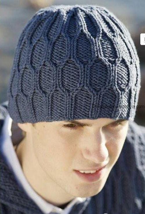 мужская шапка спицами связать мужскую шапку спицами шкатулка