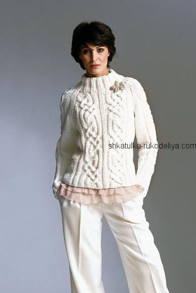 вязание спицами, пуловер, схема, описание, для женщин, белый, рельефный узор