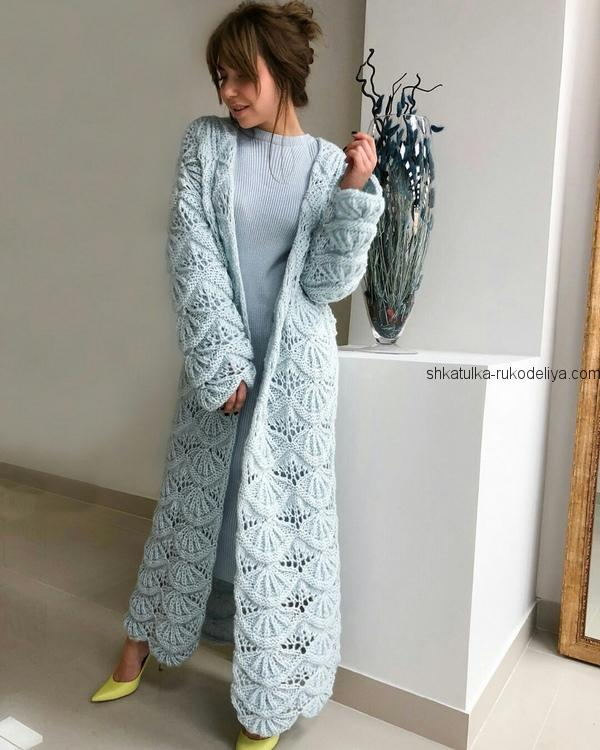 пальто узором гребешки спицами вязаное пальто спицами для женщин с