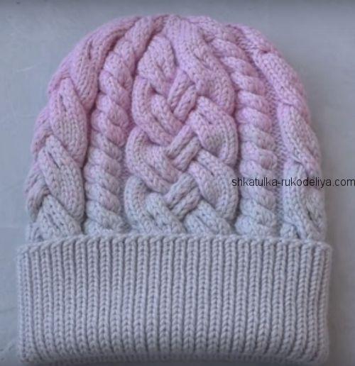 шапка с косами и жгутами связанная спицами мастер класс по вязанию
