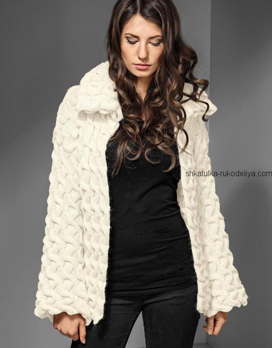 вязание спицами, жакет, белый, рельефный узор, описание, для женщин