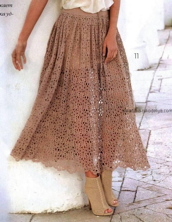 вязание крючком, юбка, длинная, летняя, схема