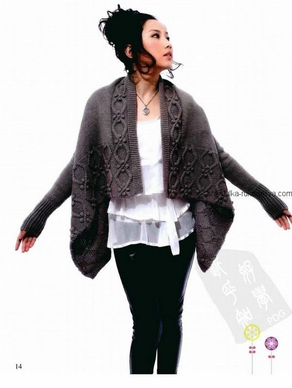 вязание спицами, жакет, для женщин, удлиненная полочка, серый