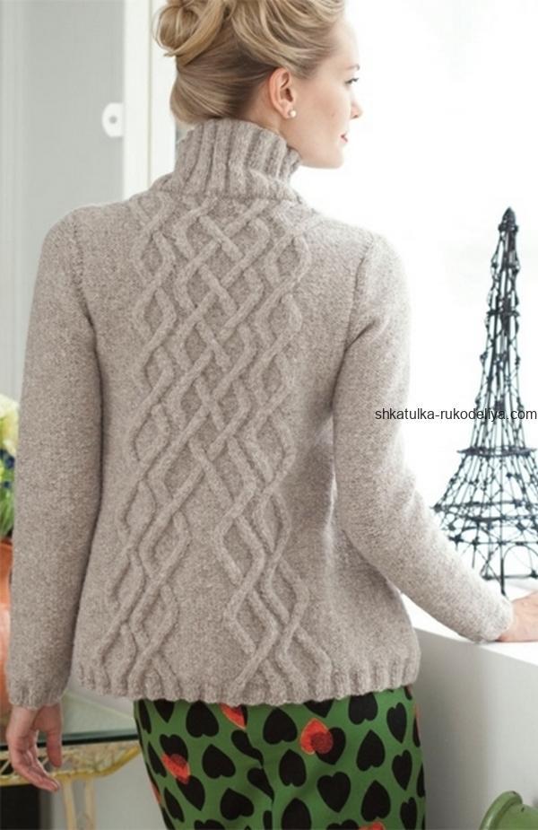 вязание спицами, свитер, для женщин, описание, схема, араны