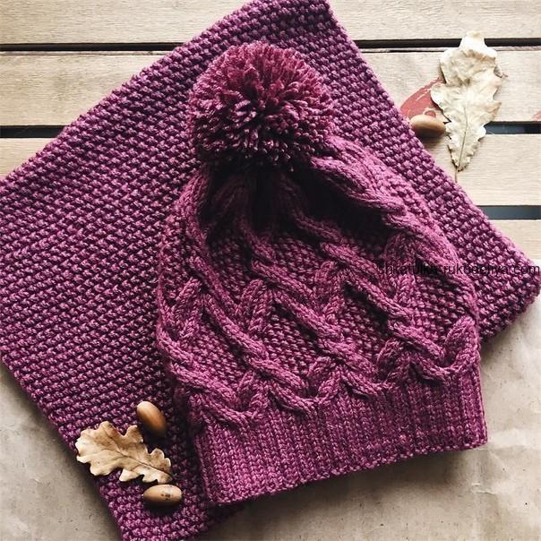 вязание спицами, шапка, теплая, схема, для женщин