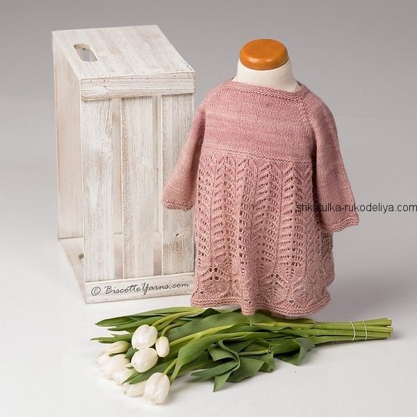 вязание спицами, туника, схема, для девочки, ажурный низ