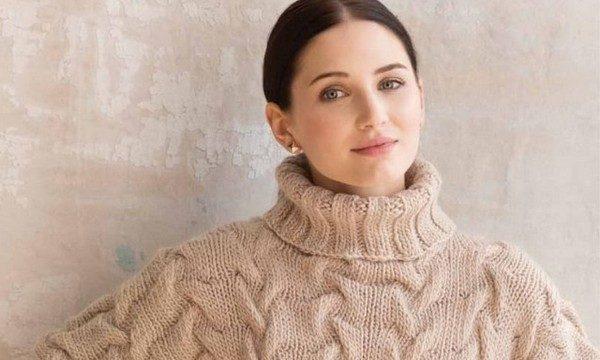 вязание спицами, пуловер, описание, для женщин, одним полотном