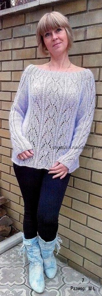 вязание спицами, пуловер, кокетка лодочка, для женщин, ажурный, описание