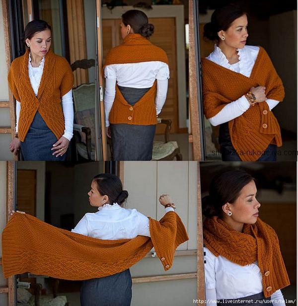 вязание спицами, шаль тарансформер, схема, описание, для женщин