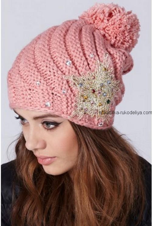 вязание спицами, шапочка, розовая, описание, для женщин
