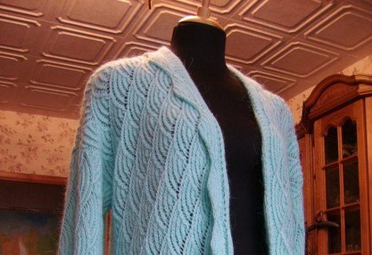 вязание спицами, кардиган, схема, описание, для женщин, голубой