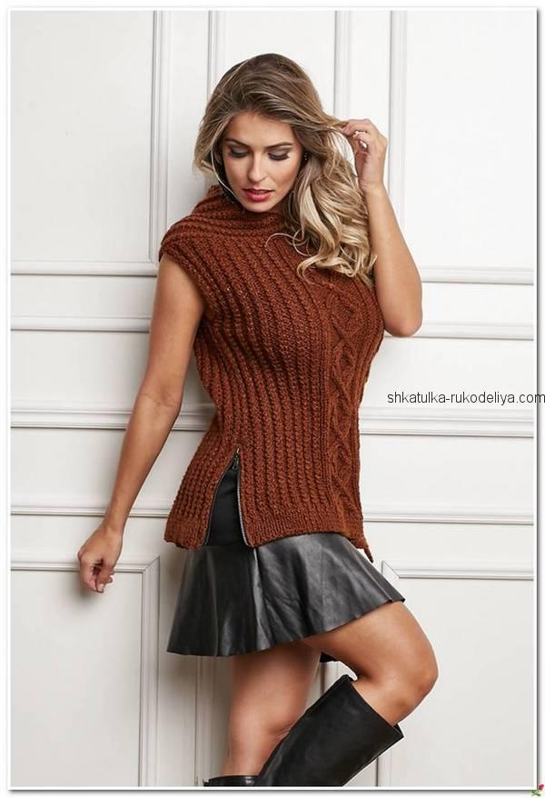 вязание спицами, безрукавка, для женщин, схема, коричневая
