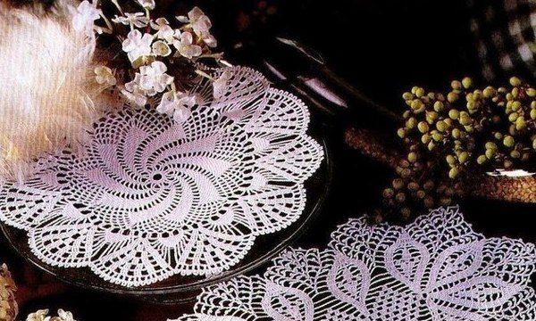 вязание крючком, салфетка, схема, для дома, ажурная, белая