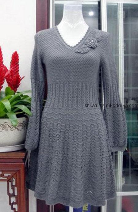 вязание спицами, платье, серое, схема, длинный рукав, расклешенная юбка