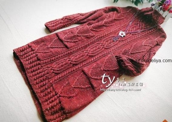 вязание спицами, туника, теплая, для женщин, схема, длинная