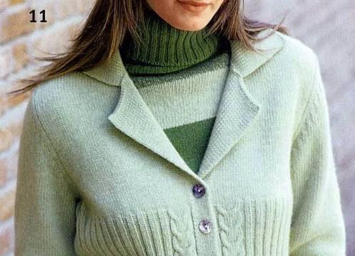 вязание спицами, каррдиган, для женщин, зеленый, описание, узор двойная коса