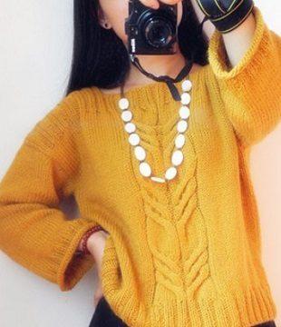 вязание спицами, пуловер, схема, для женщин, желтый, осенний