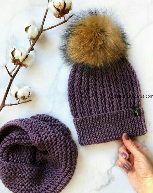 шапка узором колосок спицами зимняя женская шапочка спицами