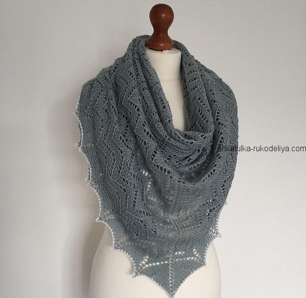 вязание спицами, шаль, для женщин, треугольная, схема