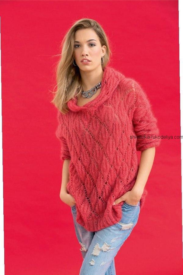 вязание спицами, пуловер, мохер, схема, описание, для женщин, узор ромб