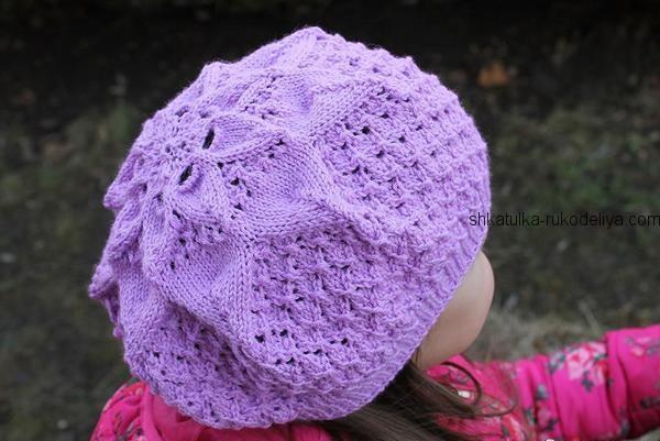 вязание спицами, берет, для девочки, летний, ажурный, мастер класс