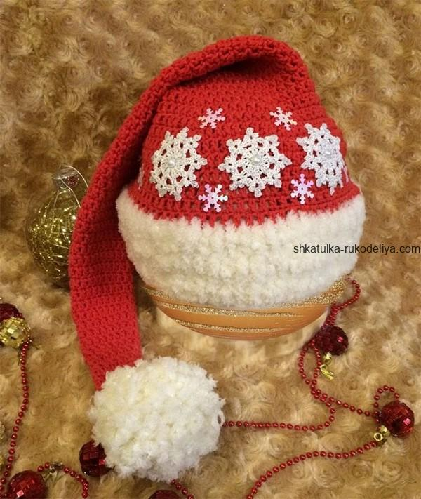 вязание крючком, колпачок, для малыша, новогодний, мастер класс