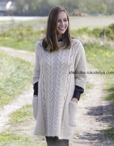 вязание спицами, туника, карманы, схема, для женщин