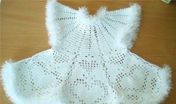 вязание крючком, платье, узор сердечко, филейка, схема, для девочки
