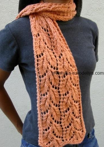 вязание спицами, шарф, схема, ажурный, для женщин